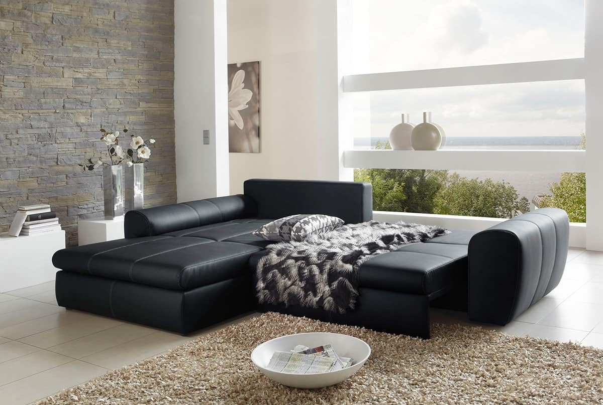 ledercouch schwarz kissen. Black Bedroom Furniture Sets. Home Design Ideas