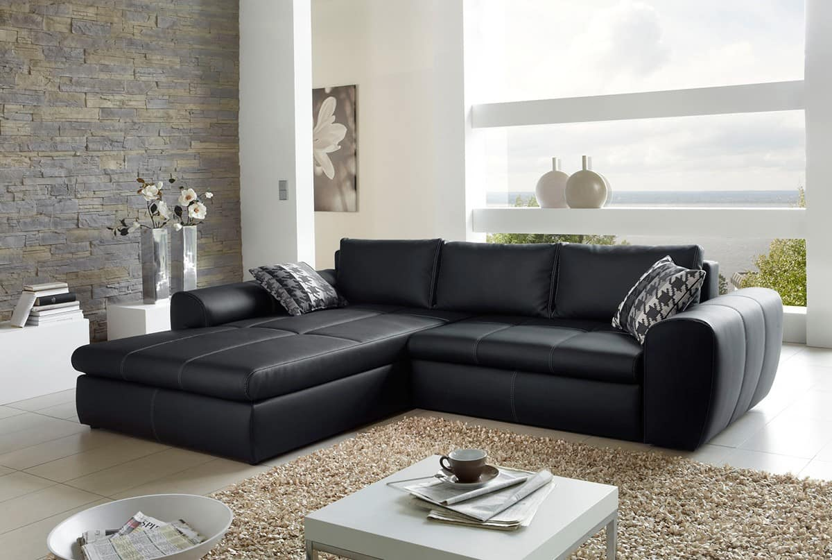 sofa luidor schwarz 290x215 cm couch mit schlaffunktion und kissen ebay. Black Bedroom Furniture Sets. Home Design Ideas