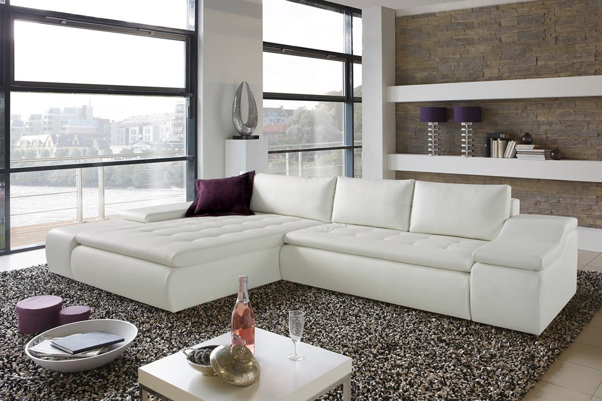 sofa hot volley 360x210 cm weiss lila kissen couch mit bettfunktion ecksofa neu ebay. Black Bedroom Furniture Sets. Home Design Ideas