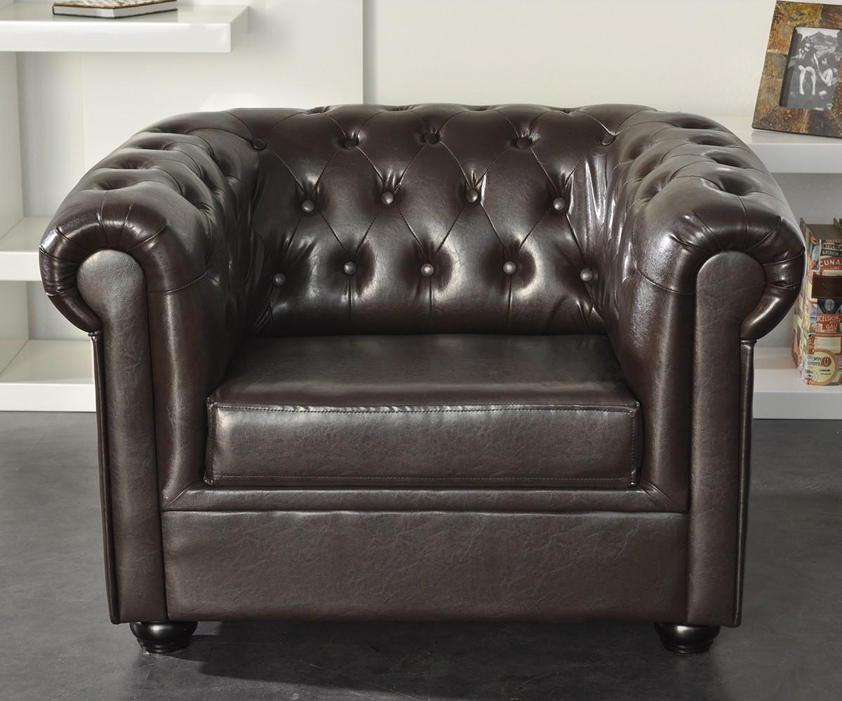 sessel chesterfield braun lounge m bel abgesteppt 1 sitzer. Black Bedroom Furniture Sets. Home Design Ideas