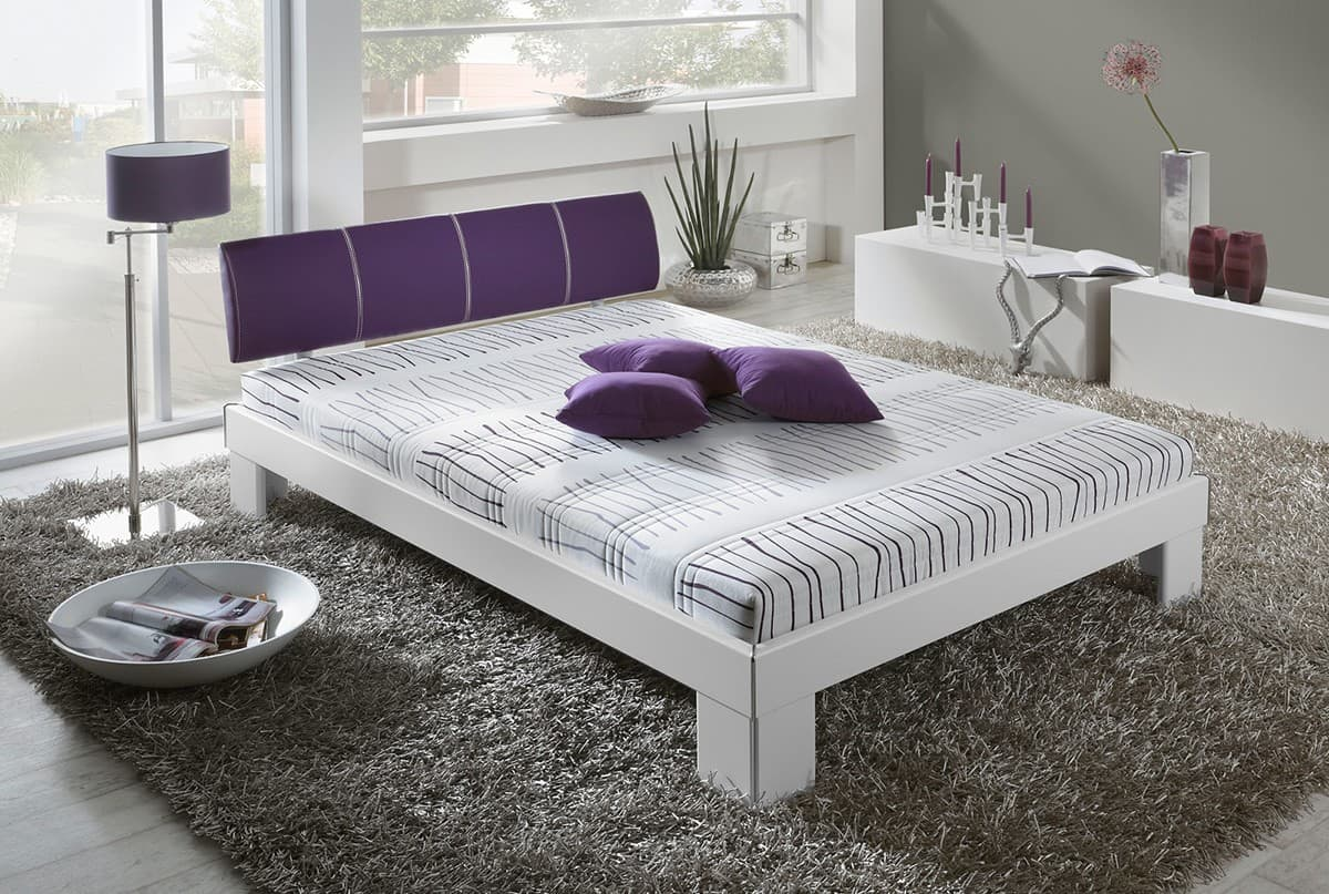 komplett bett viola 140x200 cm weiss lila bett mit matratze 140 cm futonbett neu ebay. Black Bedroom Furniture Sets. Home Design Ideas
