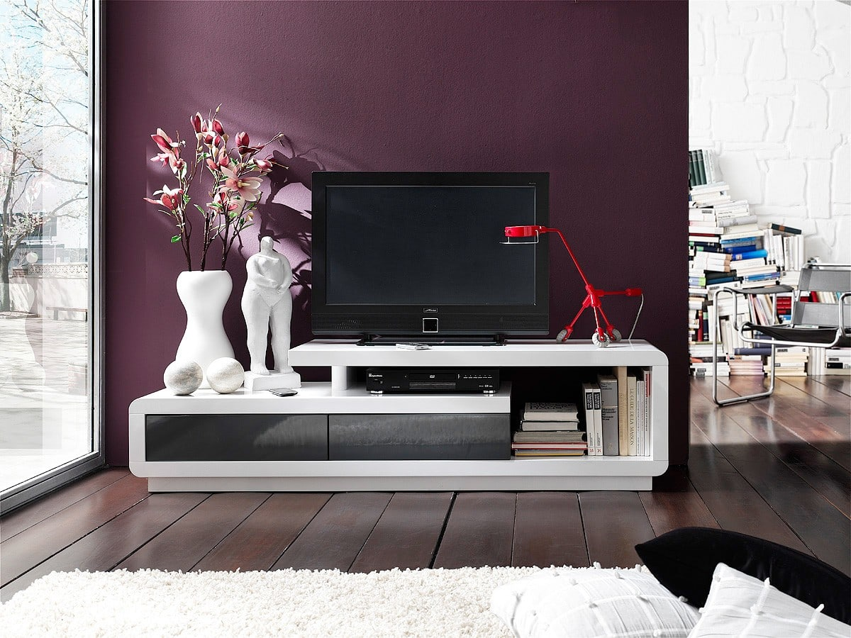 longboard cascara 170x45 weiss grau hochglanz tv board ebay. Black Bedroom Furniture Sets. Home Design Ideas