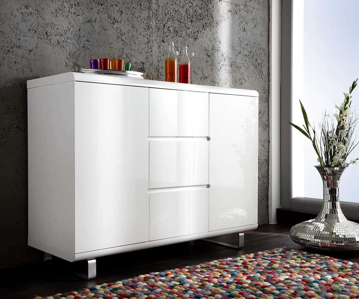 highboard ropero 145x115 cm weiss hochglanz kommode ebay. Black Bedroom Furniture Sets. Home Design Ideas