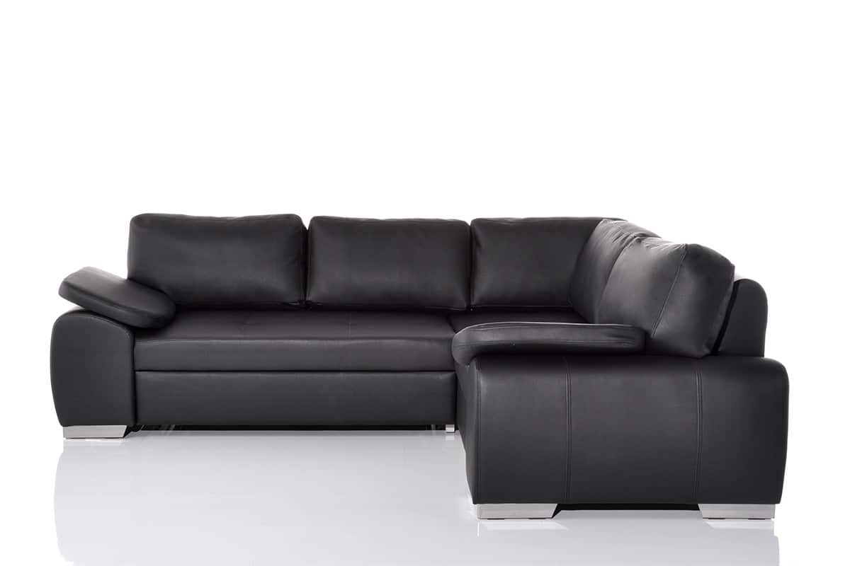 ecksofa antare 250x200cm schwarz ottomane rechts mit bettkasten schlafsofa couch ebay. Black Bedroom Furniture Sets. Home Design Ideas