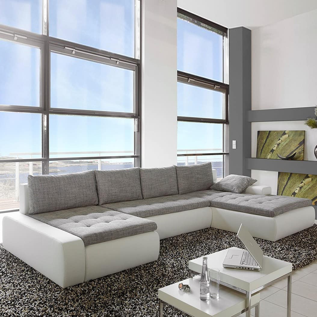 sofa wohnlandschaft prima vera weiss grau napalon leder ebay. Black Bedroom Furniture Sets. Home Design Ideas