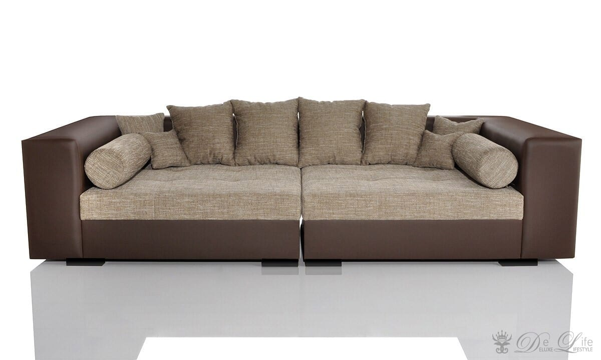 big sofa stella 300x140 cm braun beige strukturstoff mit. Black Bedroom Furniture Sets. Home Design Ideas