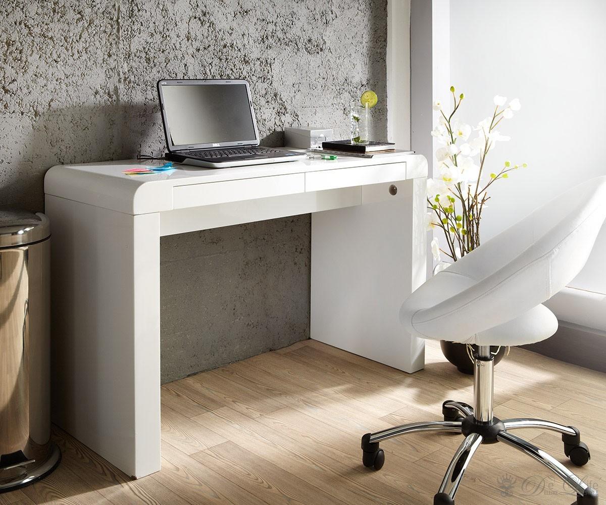 delife schreibtisch melvin 120x50 cm weiss hochglanz 2 schubladen. Black Bedroom Furniture Sets. Home Design Ideas