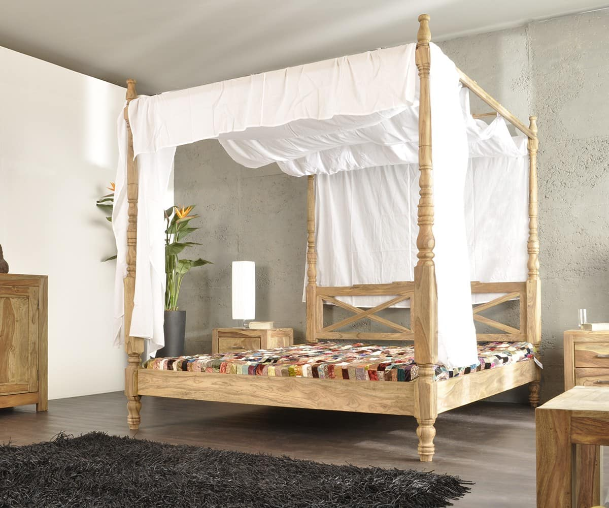 yoga holzbett sheesham natur 180x200 himmelbett mit stoff by wolf m bel ebay. Black Bedroom Furniture Sets. Home Design Ideas
