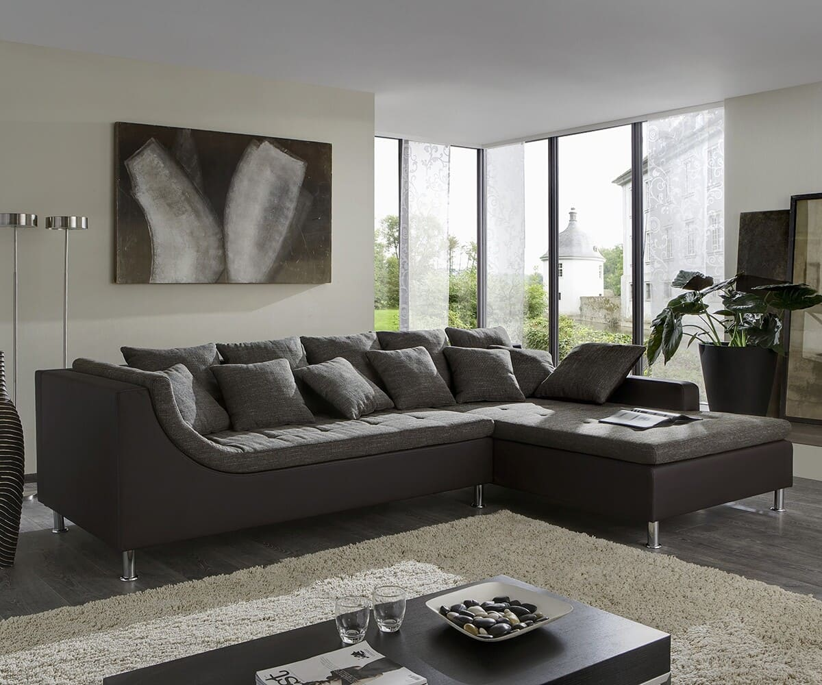sofa wohnlandschaft london braun ecksofa mit hocker ebay. Black Bedroom Furniture Sets. Home Design Ideas