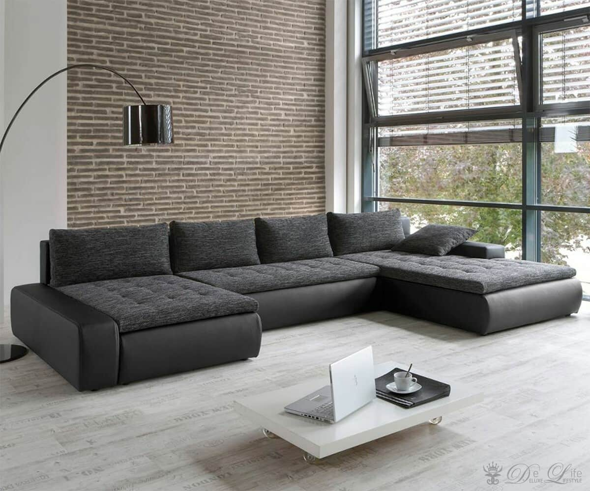 couch prima vera schwarz grau sofa mit schlaffunktion ebay. Black Bedroom Furniture Sets. Home Design Ideas