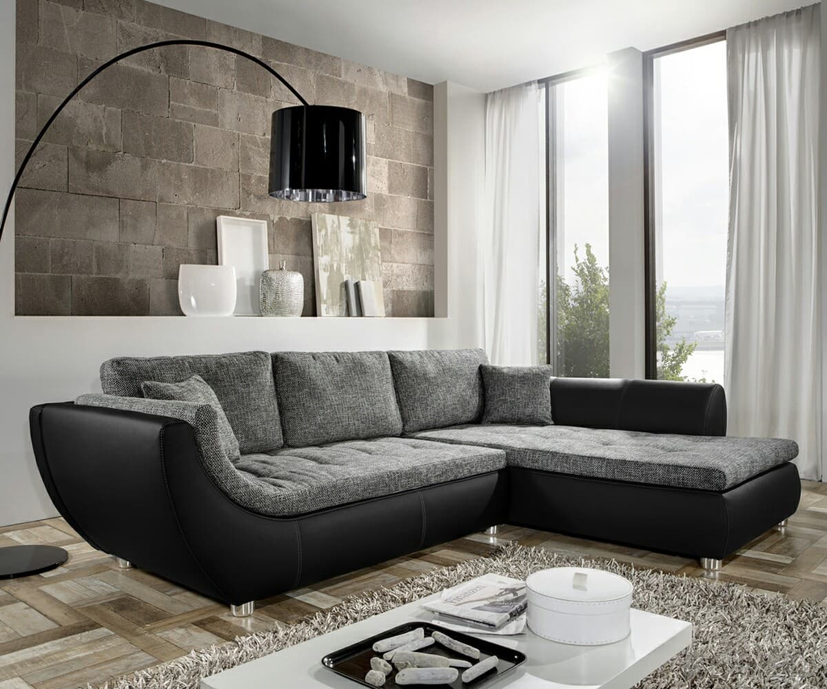 sofa ronja 287x100cm schwarz grau napalon leder stoff ebay. Black Bedroom Furniture Sets. Home Design Ideas