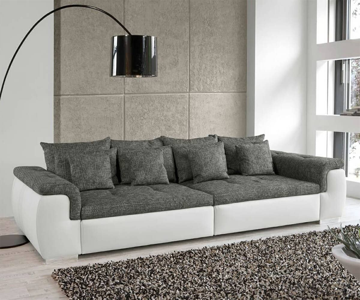 big sofa enjoy weiss grau napalon leder struktur ebay. Black Bedroom Furniture Sets. Home Design Ideas