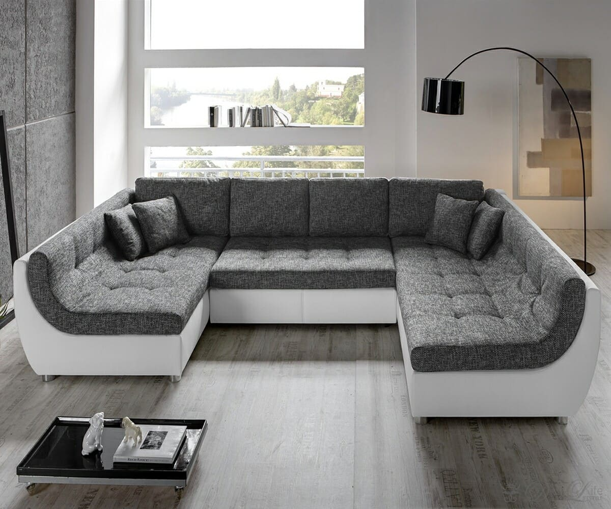 couch vuelo grau weiss sofa mit schlaffunktion wohnlandschaft ebay. Black Bedroom Furniture Sets. Home Design Ideas