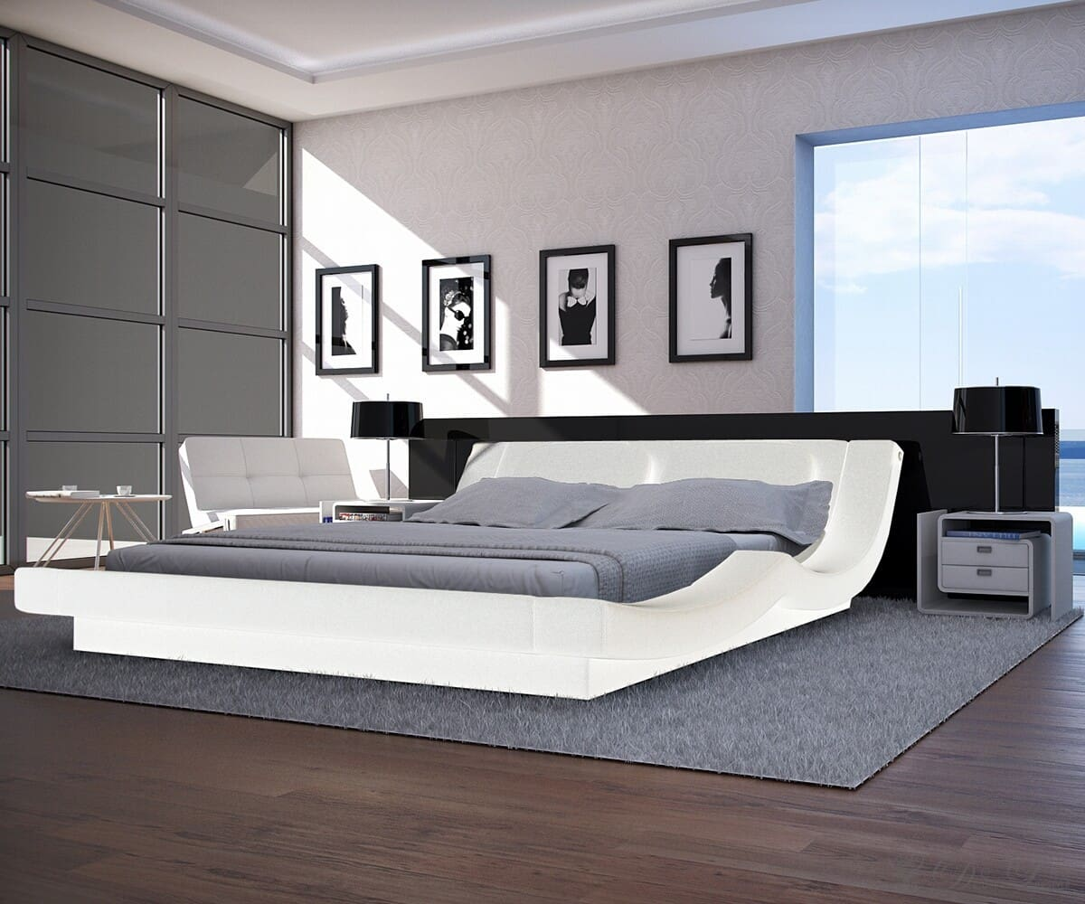 bett perla 180x200 weiss napalon leder polsterbett ebay. Black Bedroom Furniture Sets. Home Design Ideas