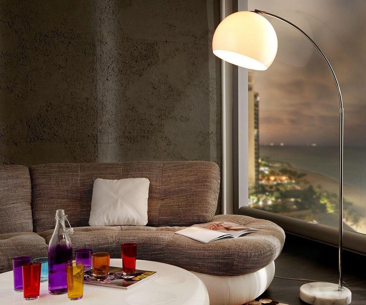 bogenlampe big deal lounge weiss marmor h henverstellbar. Black Bedroom Furniture Sets. Home Design Ideas
