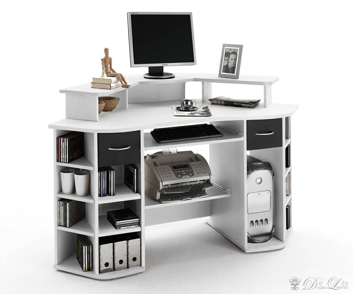 schreibtisch compact schwarz weiss 146x88 cm computertisch ebay. Black Bedroom Furniture Sets. Home Design Ideas