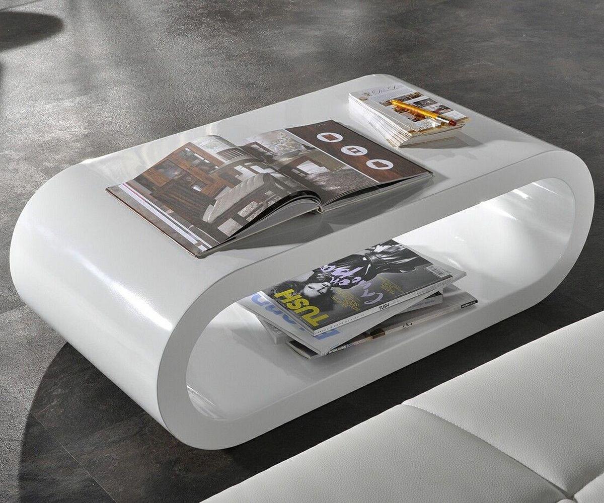 Wohnzimmertisch Lounge Club Deluxe Hochglanz Weiss 90x45 Cm Tisch