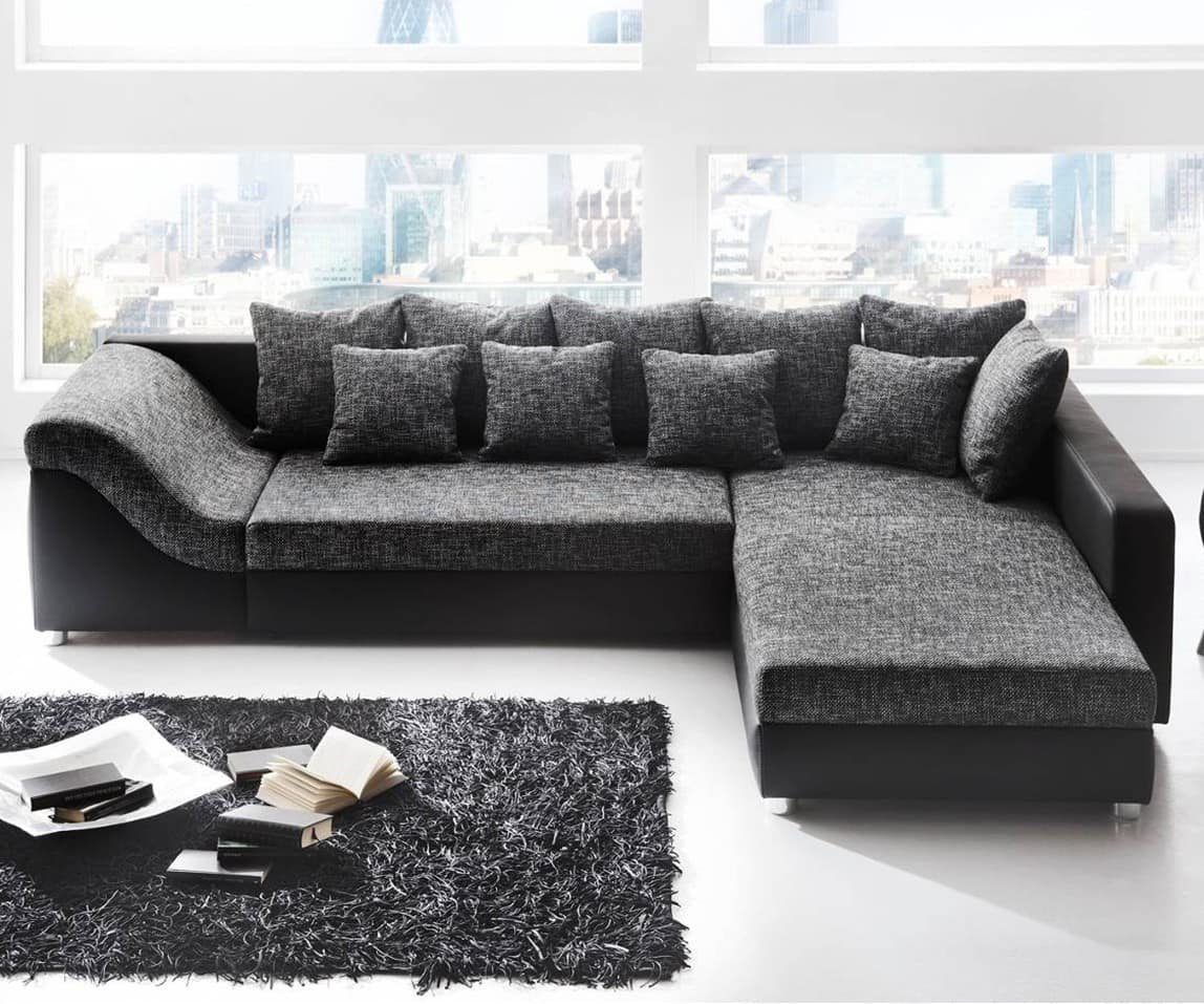 sofa ravenna 310x220 schwarz grau mit schlaffunktion ebay. Black Bedroom Furniture Sets. Home Design Ideas