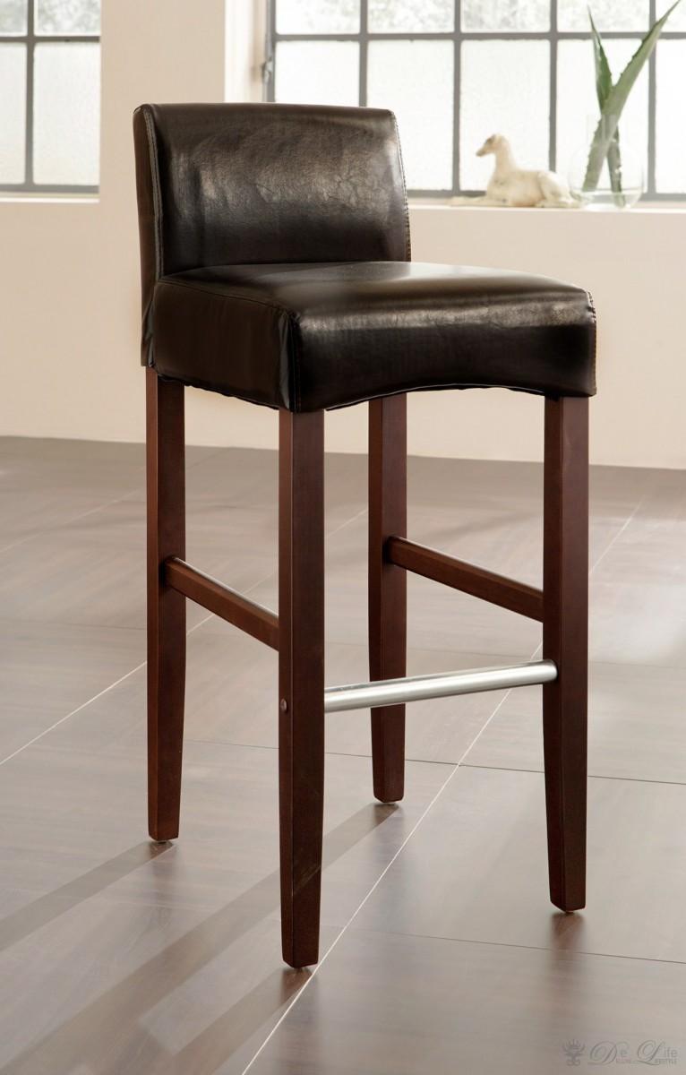 barstuhl ina braun kolonial holz barhocker mit fu ablage. Black Bedroom Furniture Sets. Home Design Ideas