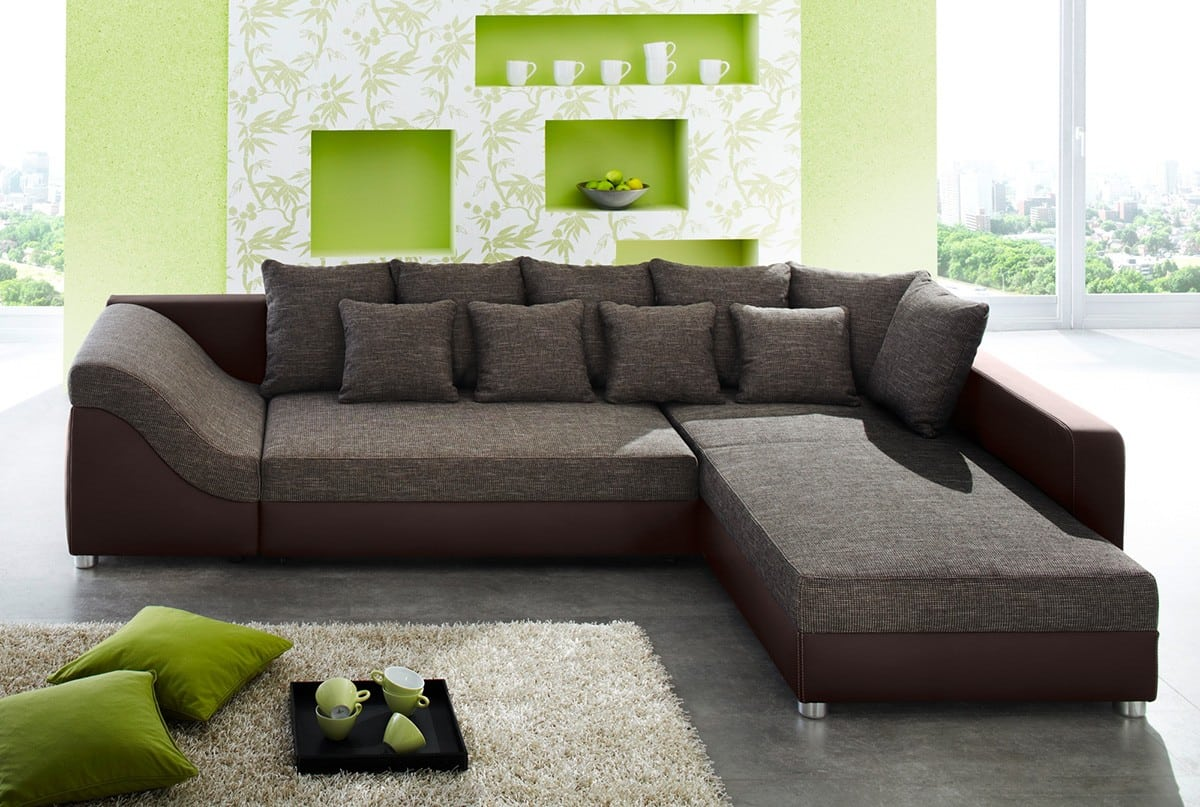 sofa ravenna 310x220 cm braun strukturstoff couch mit. Black Bedroom Furniture Sets. Home Design Ideas