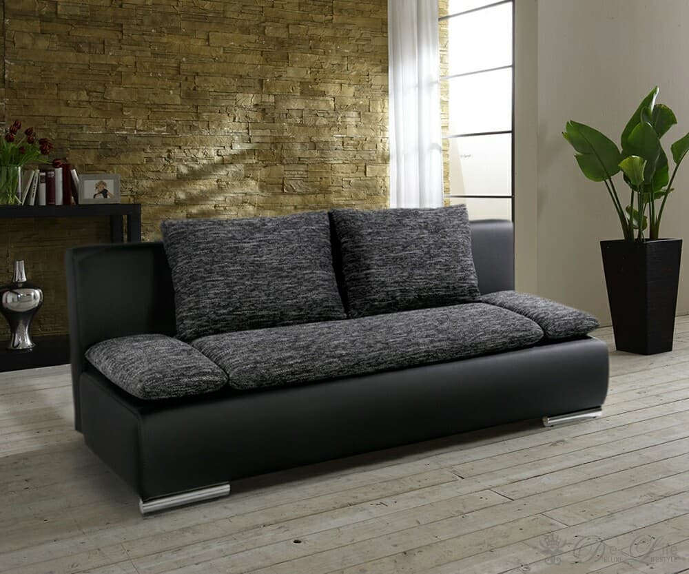 schlafsofa benno 200x100 cm dunkelgrau schwarz sofa mit bettkasten ebay. Black Bedroom Furniture Sets. Home Design Ideas