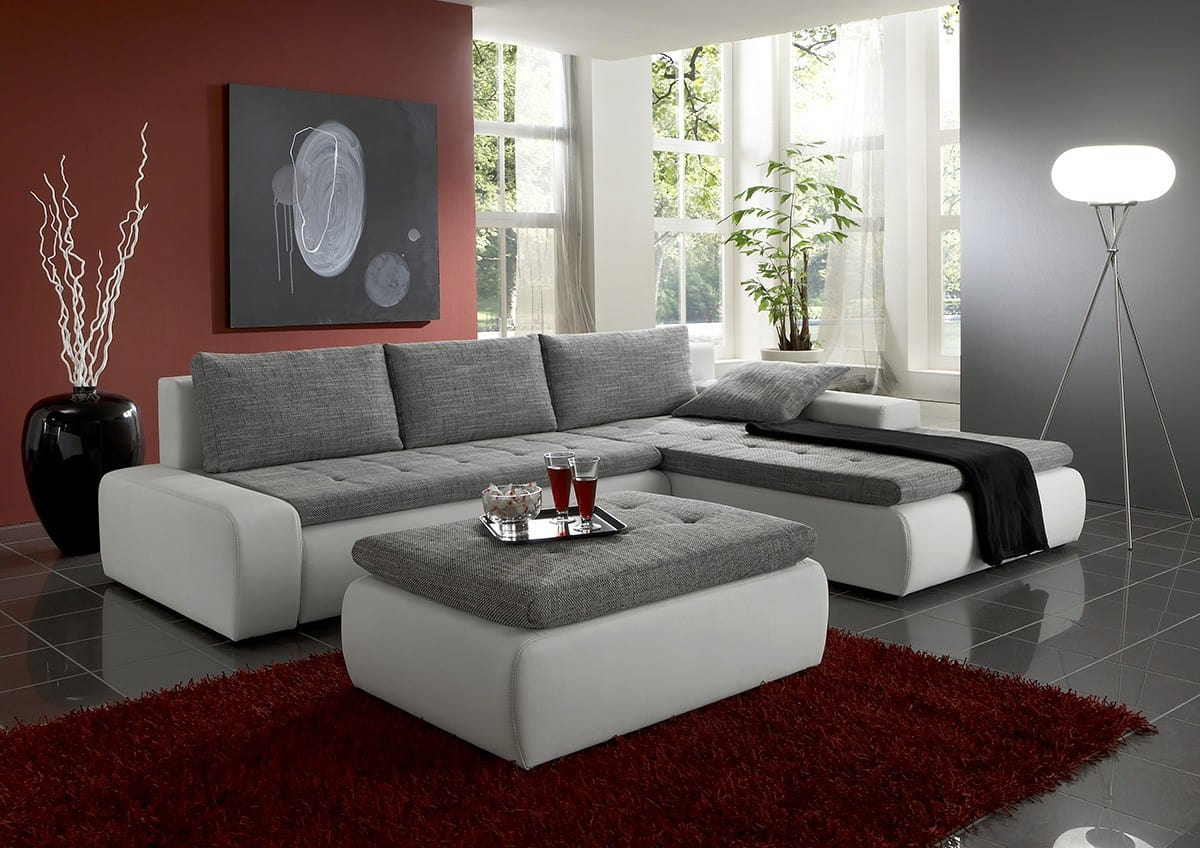 sofa montreal 300x210 weiss grau strukturstoff couch mit schlaffunktion ecksofa ebay. Black Bedroom Furniture Sets. Home Design Ideas