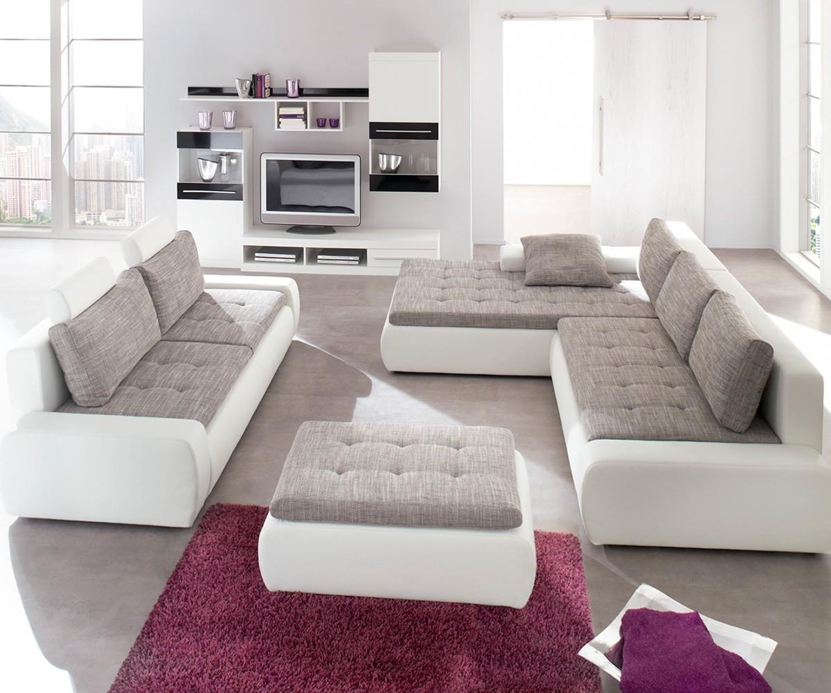 sofa montreal 300x210 cm weiss grau couch mit schlaffunktion bild 2. Black Bedroom Furniture Sets. Home Design Ideas