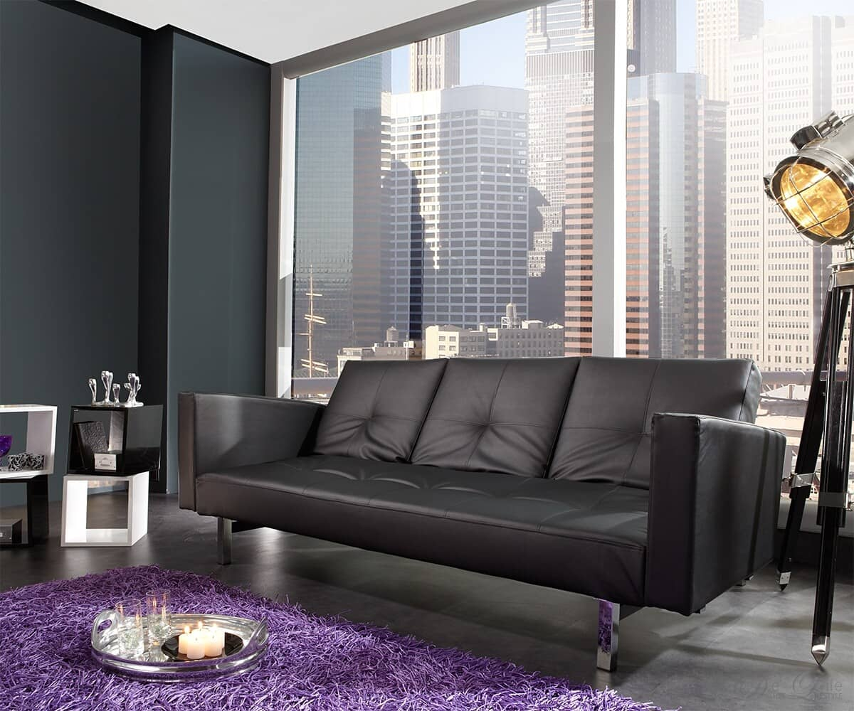 schlafsofa columbus 215x110 schwarz napalon leder sofa mit bettfunktion ebay. Black Bedroom Furniture Sets. Home Design Ideas