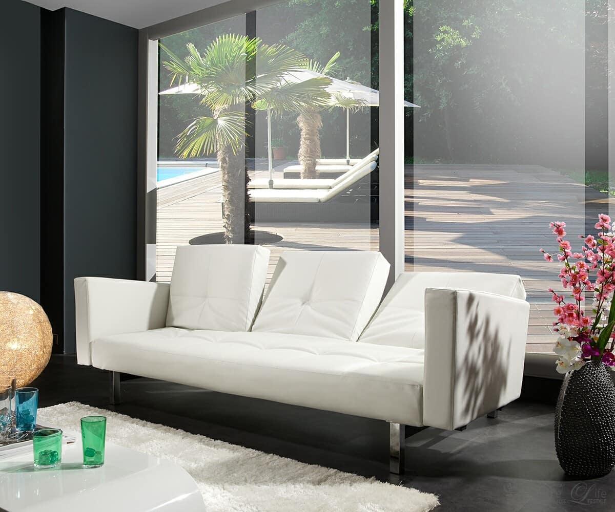 schlafsofa columbus 215x110 cm weiss sofa mit bettfunktion ebay. Black Bedroom Furniture Sets. Home Design Ideas