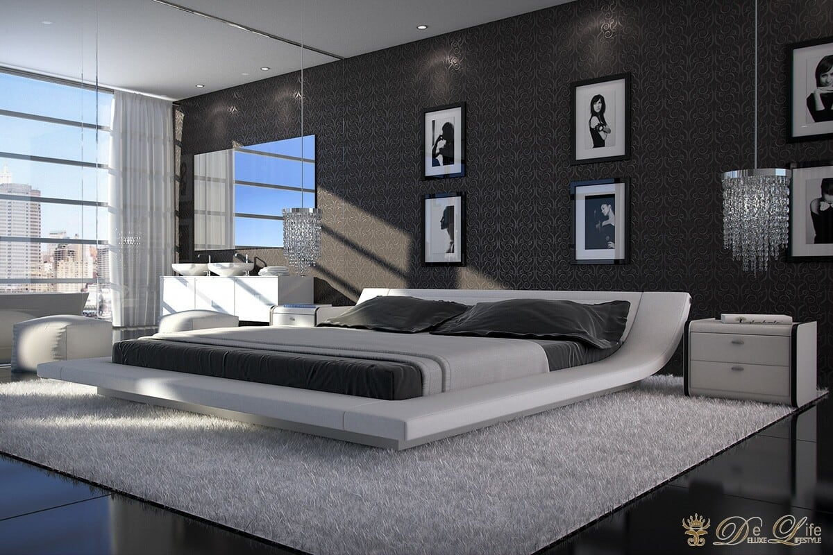 bett perfecta 180x200 weiss napalon leder polsterbett ebay. Black Bedroom Furniture Sets. Home Design Ideas