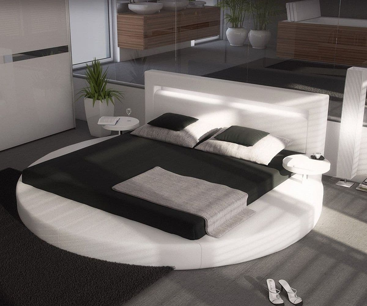 bett arrondi 180x200 weiss rund 2 nachtkonsolen led m bel. Black Bedroom Furniture Sets. Home Design Ideas