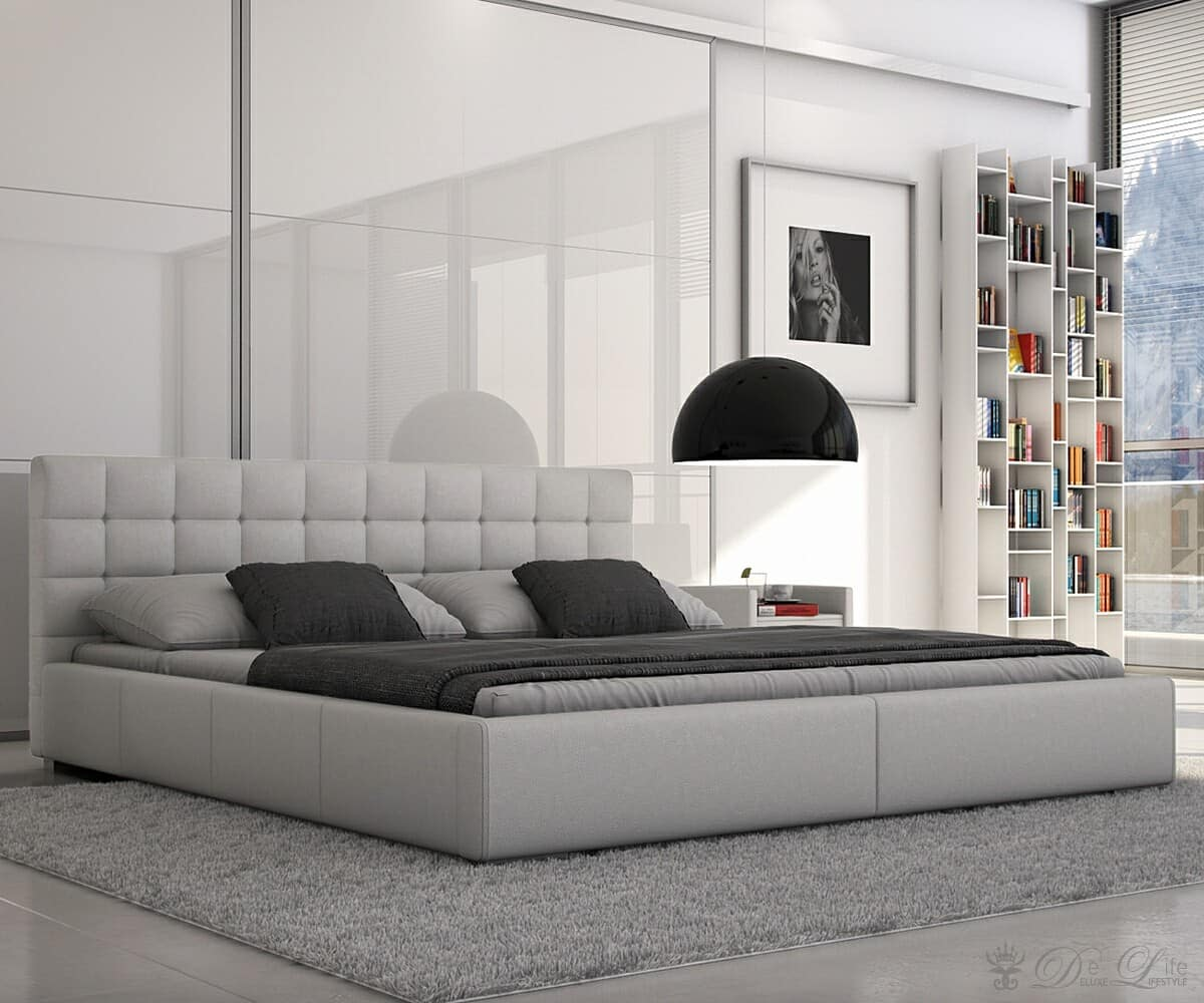polsterbett balduin 180x200 cm weiss napalon leder bett ebay. Black Bedroom Furniture Sets. Home Design Ideas