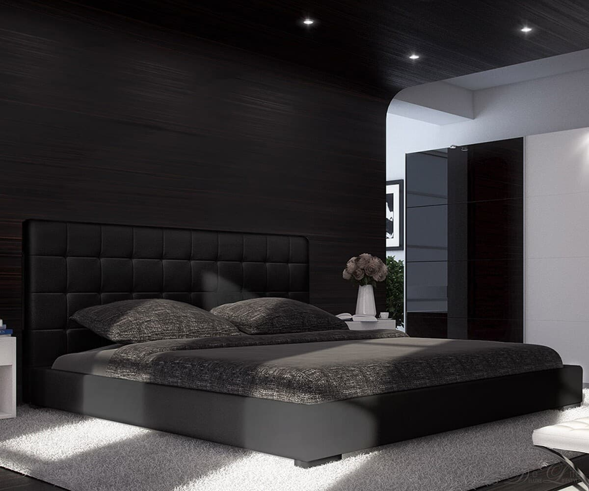 bett lombardo 140x200 cm schwarz polsterbett 140 cm ebay. Black Bedroom Furniture Sets. Home Design Ideas