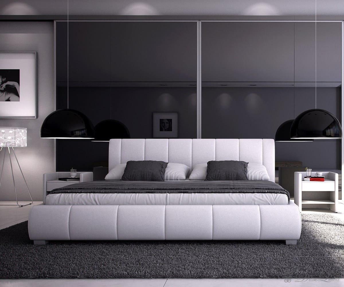 polsterbett minerva 140x200 cm weiss bett 140cm design bett schlafzimmerm bel ebay. Black Bedroom Furniture Sets. Home Design Ideas