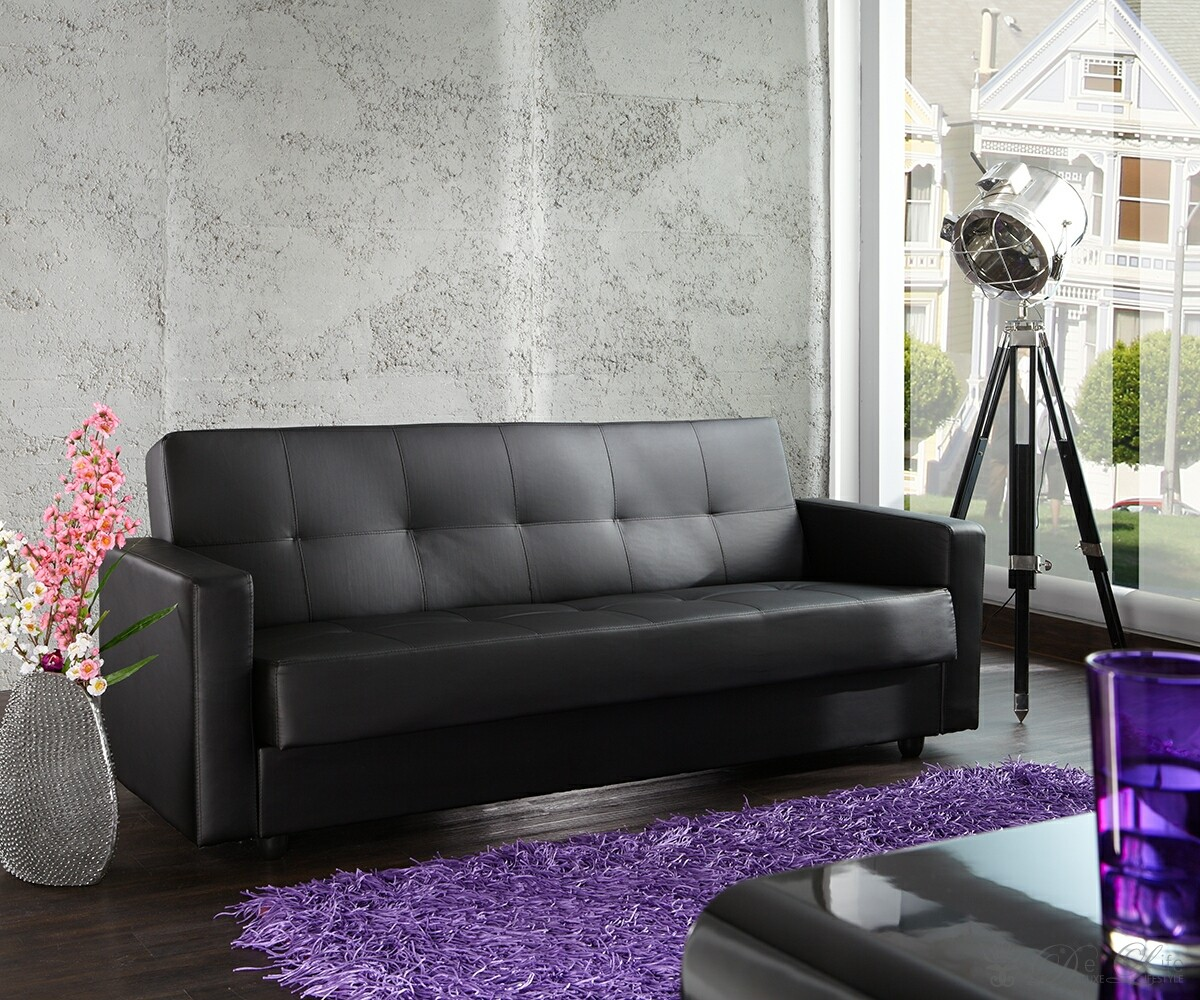schlafsofa rumba 210x85 schwarz napalon leder sofa mit. Black Bedroom Furniture Sets. Home Design Ideas