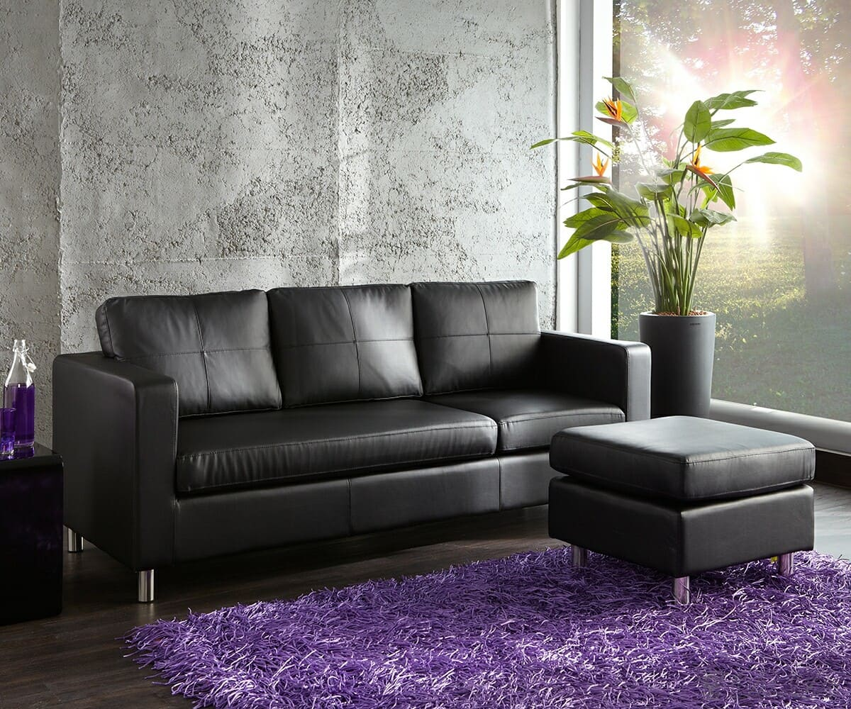 sofa charleston 200x80 cm schwarz couch mit kissen und hocker ebay. Black Bedroom Furniture Sets. Home Design Ideas