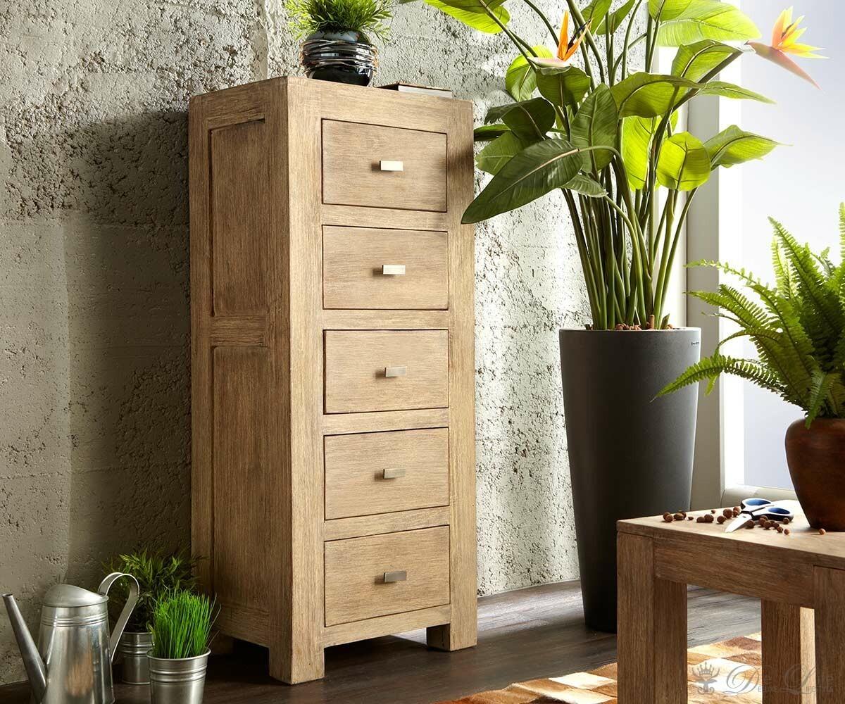 guru kommode 50x125 akazie sand highboard 5 schubladen by wolf m bel ebay. Black Bedroom Furniture Sets. Home Design Ideas