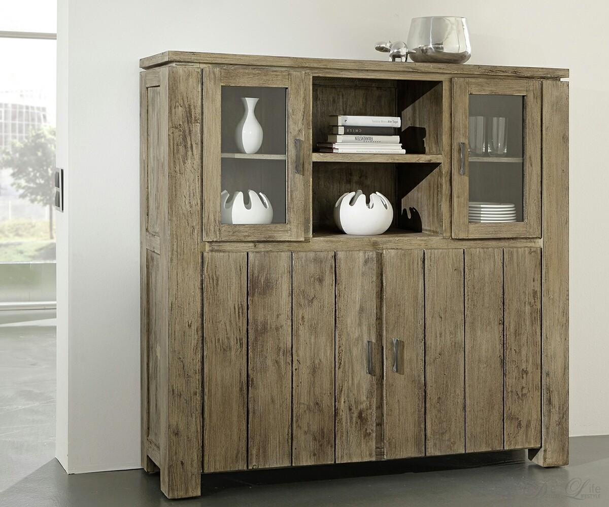 venice highboard akazie sand mit 2 glas 2 holzt ren by wolf m bel ebay. Black Bedroom Furniture Sets. Home Design Ideas
