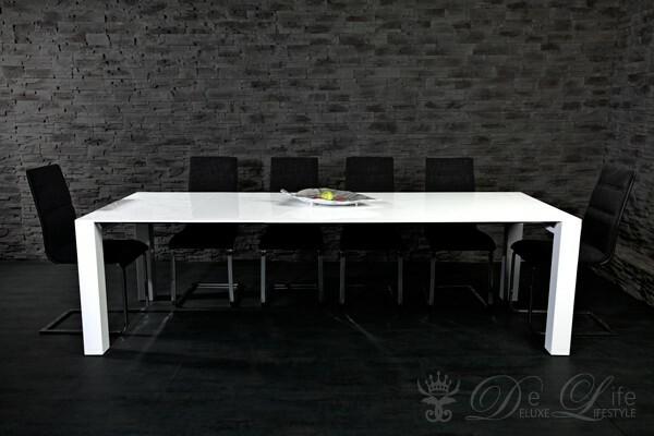 esstisch merlin 180 270x100 weiss hochglanz tisch. Black Bedroom Furniture Sets. Home Design Ideas