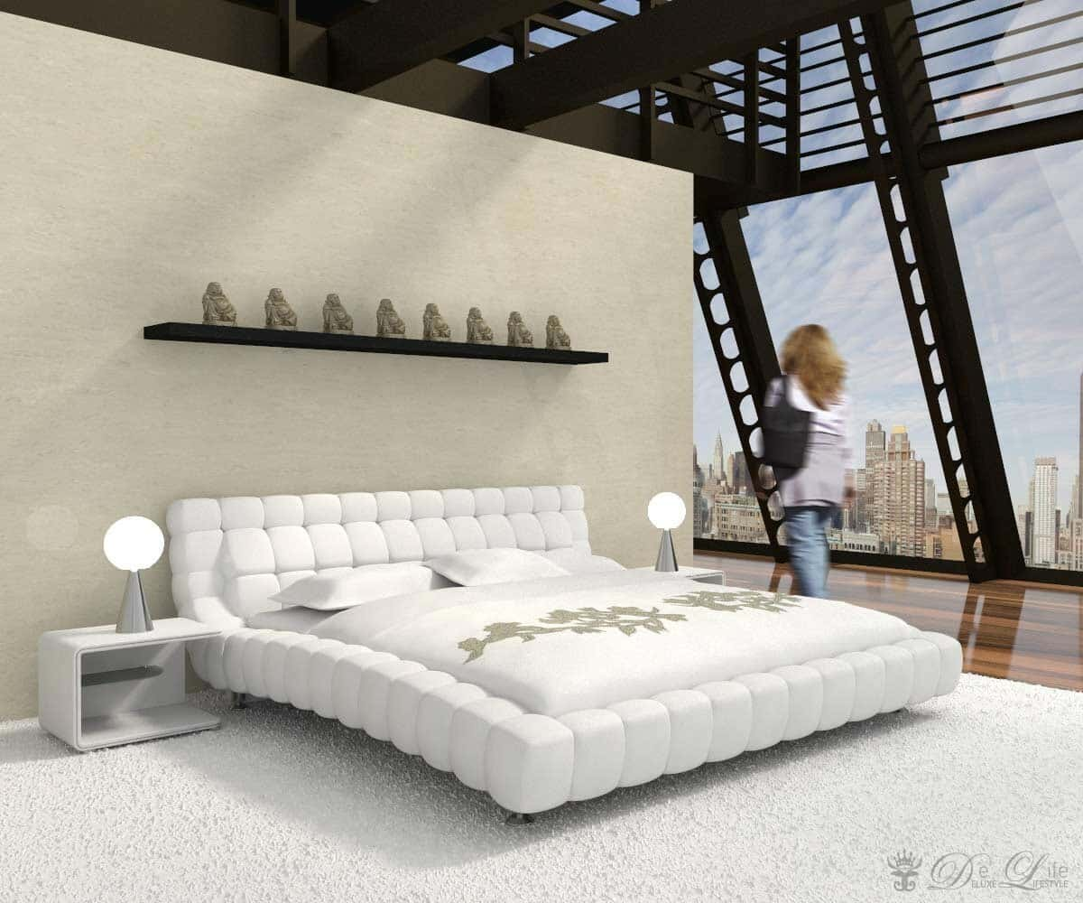 bett spirit 140x200 cm weiss polsterbett schlafzimmerm bel 140 cm ebay. Black Bedroom Furniture Sets. Home Design Ideas