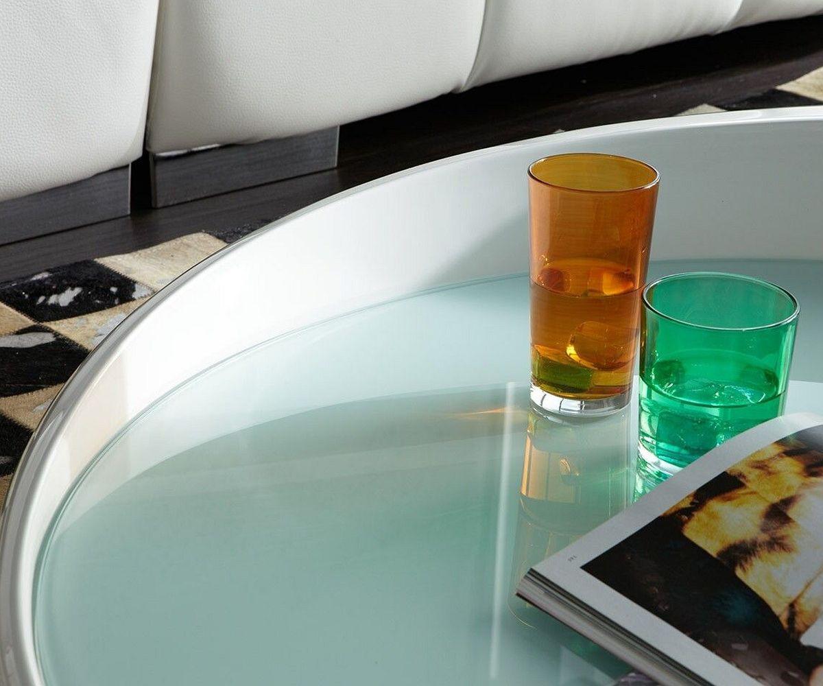 couchtisch esmerado 100 cm weiss wohnzimmertisch rund. Black Bedroom Furniture Sets. Home Design Ideas