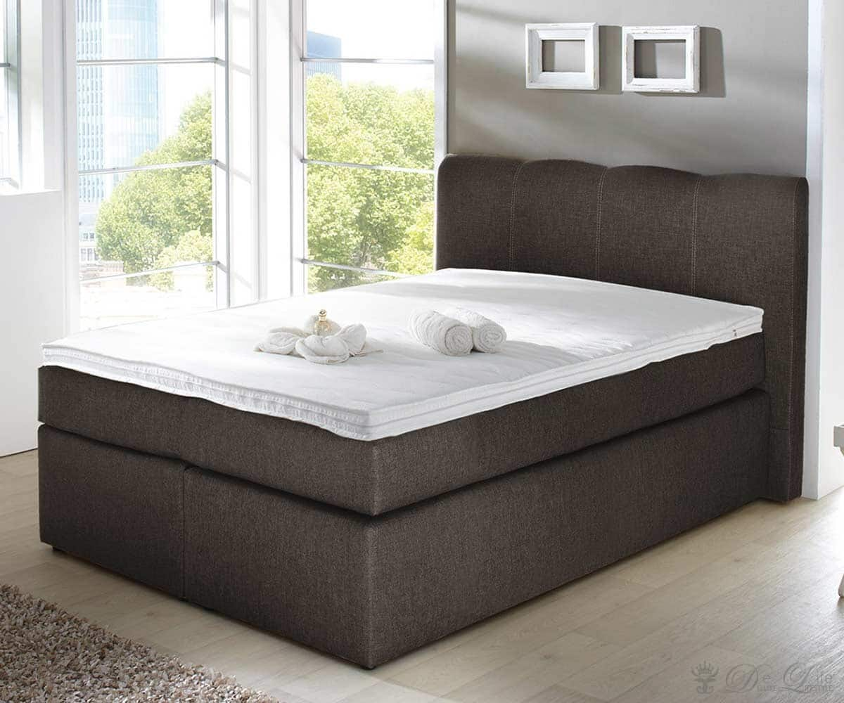 boxspringbett passiona 140x200 cm braun bett mit matratze 140 cm ebay. Black Bedroom Furniture Sets. Home Design Ideas