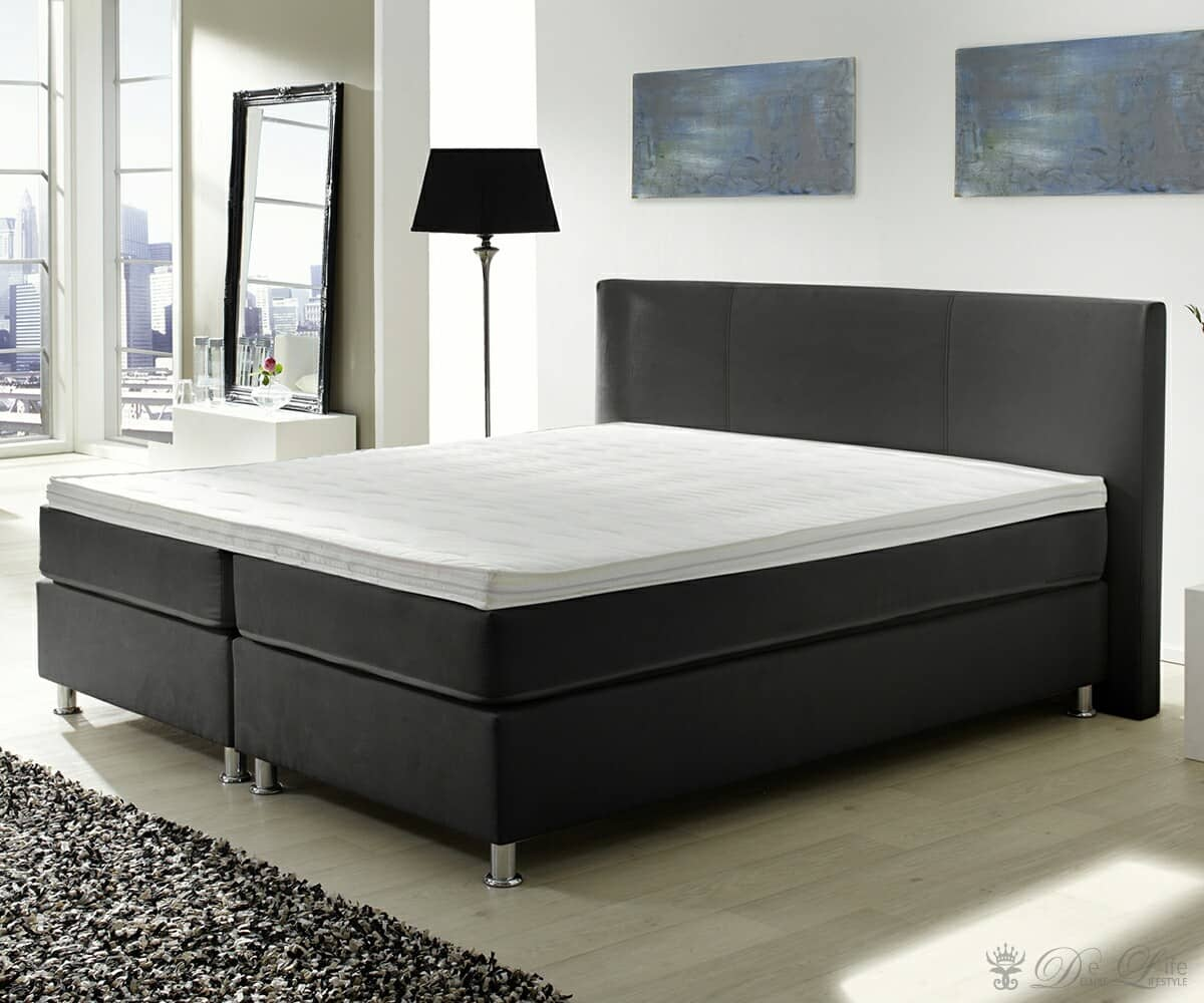 boxspringbett holiday 180x200 cm schwarz bett mit matratze 180 cm ebay. Black Bedroom Furniture Sets. Home Design Ideas