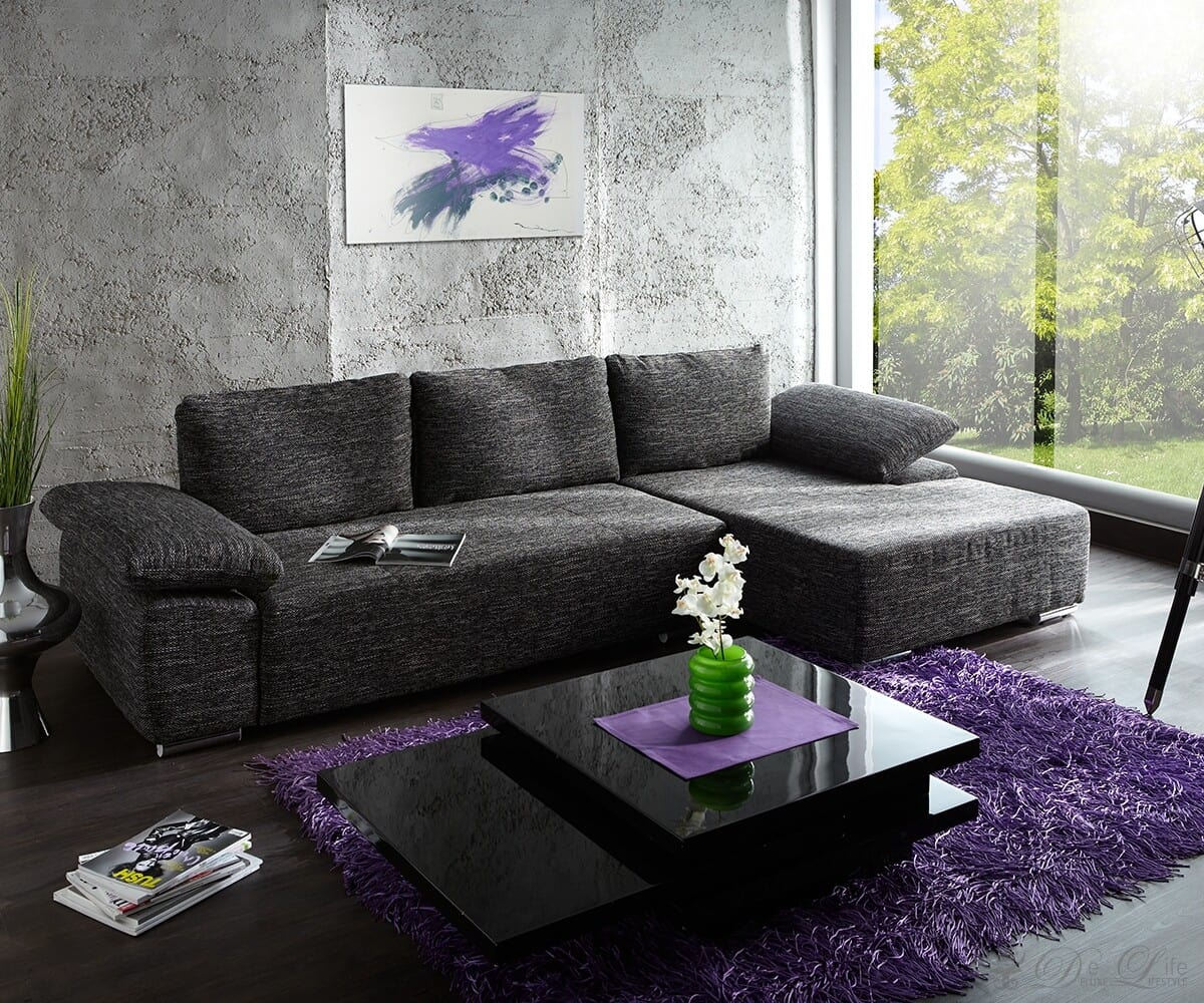 sofa valencia cm schwarz weiss strukturstoff couch. Black Bedroom Furniture Sets. Home Design Ideas