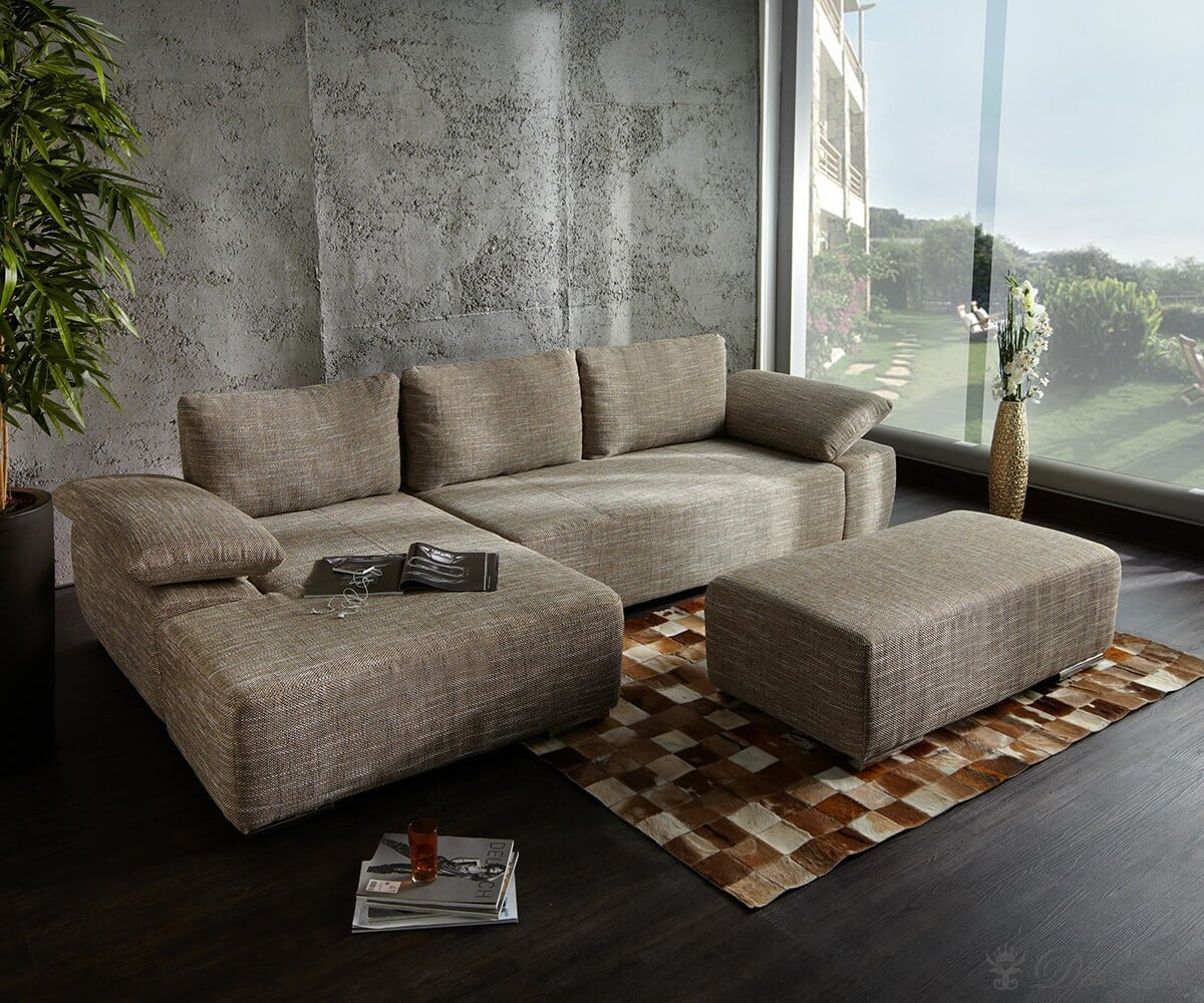 sofa valencia 300x100 dunkelbeige couch ottomane links ecksofa couch eckcouch ebay. Black Bedroom Furniture Sets. Home Design Ideas