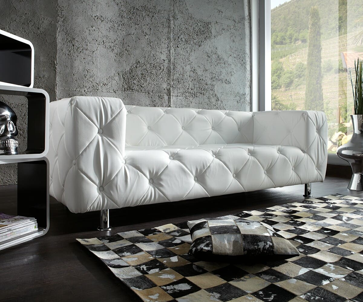 couch chealsy weiss 200x90 cm sofa abgesteppt ebay. Black Bedroom Furniture Sets. Home Design Ideas