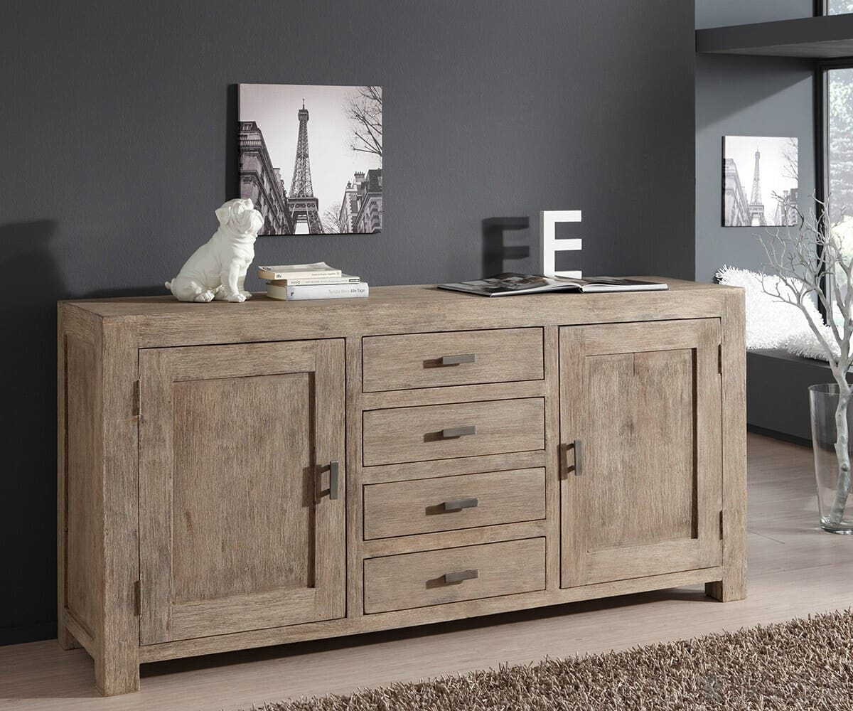 guru sideboard akazie sand 175x85 kommode 2 t ren 4 schubladen by wolf m bel ebay. Black Bedroom Furniture Sets. Home Design Ideas