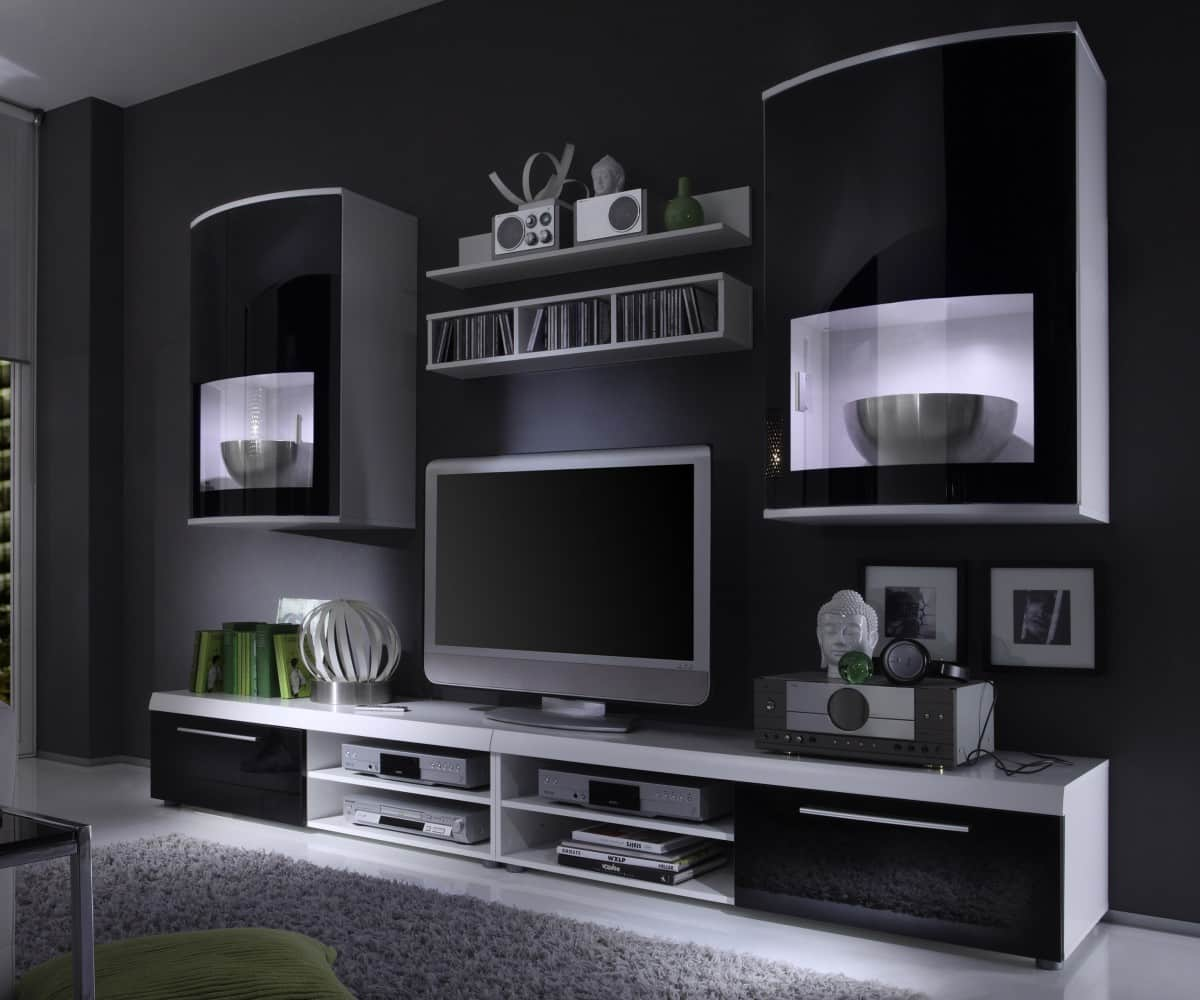 wohnwand scuro 263x185 weiss wohnzimmerm bel inklusive led beleuchtung. Black Bedroom Furniture Sets. Home Design Ideas