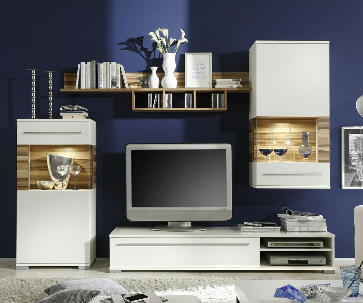 wohnwand madera 251x185cm weiss walnuss wohnzimmerm bel mit 2 vitrinen ebay. Black Bedroom Furniture Sets. Home Design Ideas