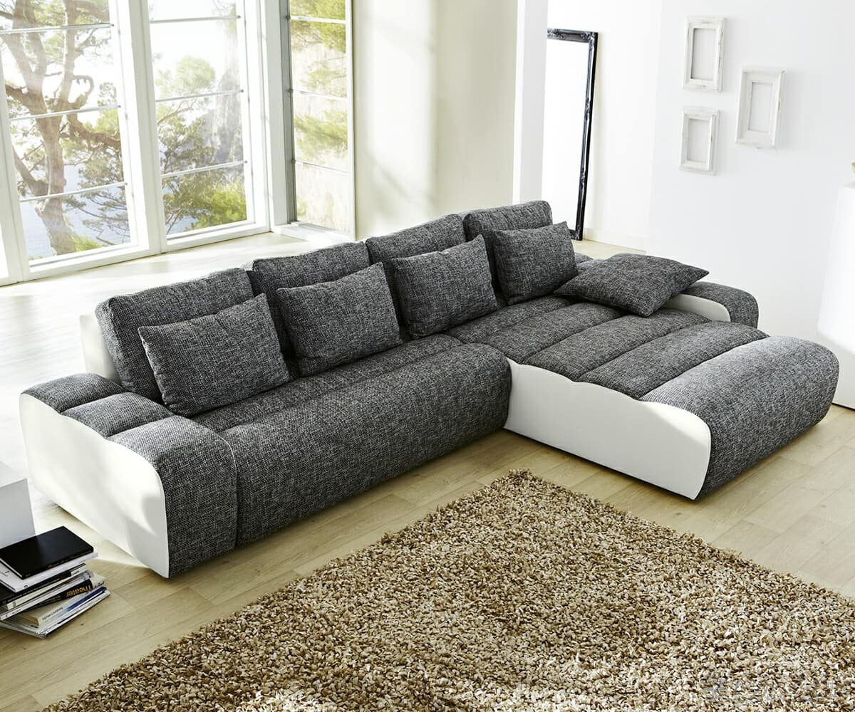 sofa bruce grau strukturstoff weiss napalon leder couch mit kissen ebay. Black Bedroom Furniture Sets. Home Design Ideas